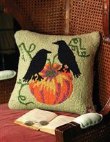 RAVENS ON A PUMPKIN HOOKED PILLOW