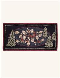 Pine Menagerie Hooked Rug