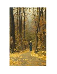 WOMAN WALKING FOREST TRAIL