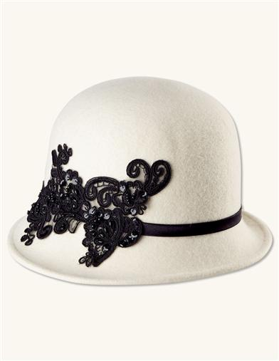 Vintage Hat Styles for Fall/Winter Lace Applique Wool Cloche $59.95 AT vintagedancer.com