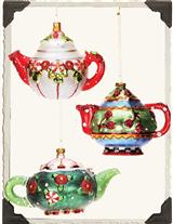 MARY ENGELBREIT TEA POT ORNAMENTS (SET OF 3)