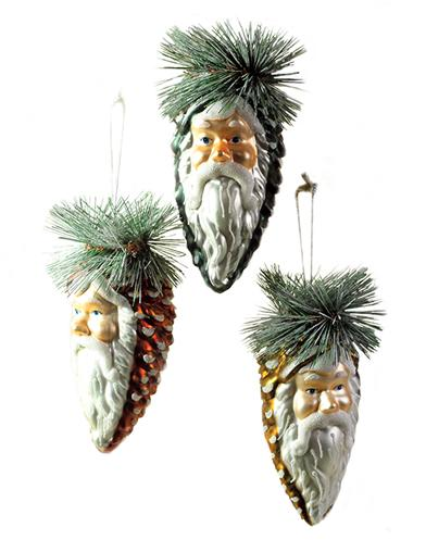 St. Nick Pinecone Ornaments (Set Of 3)