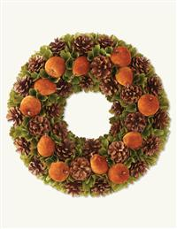 FLOCKED FRUIT WREATH