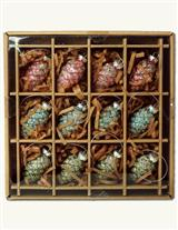 FROSTY PINECONE ORNAMENTS (SET OF 12)