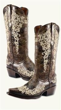 EMBROIDERED LACE COWGIRL BOOTS
