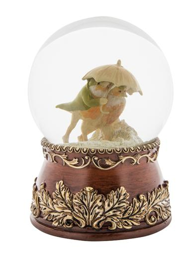 Lovebirds In A Snowstorm Water Globe