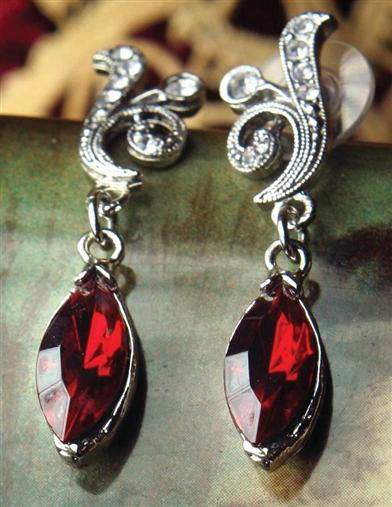 1930s Jewelry Styles and Trends Grand Duchess Scarlet Earrings $69.95 AT vintagedancer.com