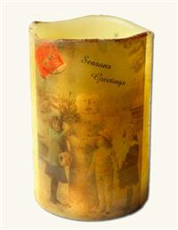 SEASONS GREETINGS SNOWMAN CIRCA 1898 CANDLE