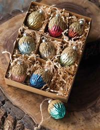 OPALINE WALNUT ORNAMENTS (SET OF 9)