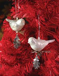OPALESCENT BIRD ORNAMENTS (PAIR)