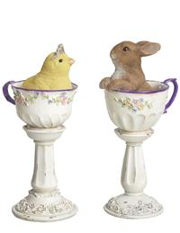 CHICK AND BUNNY ON PEDESTALS (SET OF 2)