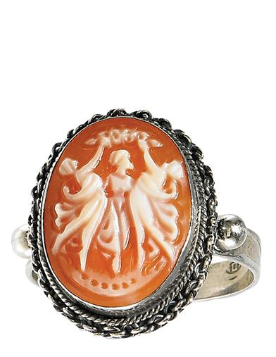 Victorian Costume Jewelry to Wear with Your Dress Three Graces Cameo Ring $149.95 AT vintagedancer.com