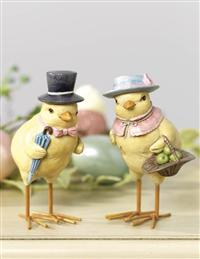 CHICK COUPLE WITH HATS (SET OF 2)
