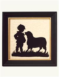 BOY AND LAMB SILHOUETTE