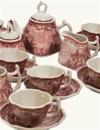 RED TOILE MINIATURE TEA SERVICE