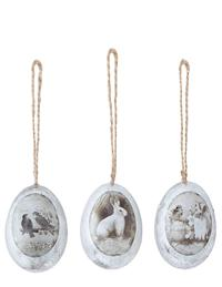METALLIC EGGS WITH VINTAGE IMAGES (SET OF 3)