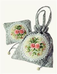 Embroidered Bag & Cosmetic Bag Set