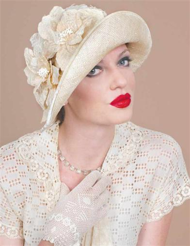 1920s Style Hats Louise Green Cream Tea Cloche $279.95 AT vintagedancer.com