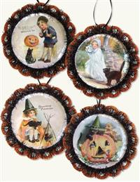 Halloween Cat Postcard Ornaments (Set Of 4)