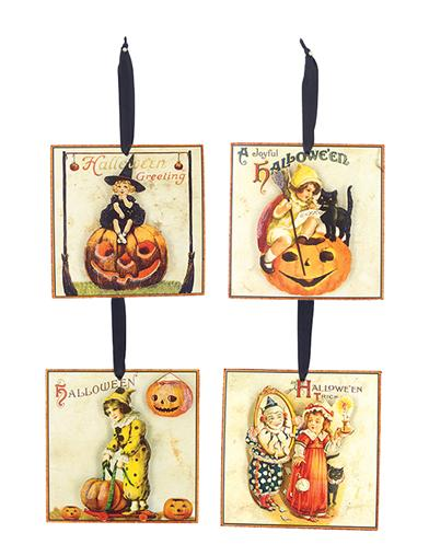Victorian Halloween Ornaments (Set Of 4)