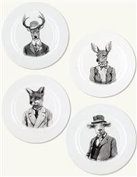Personified Animal Plates (Set Of 4)