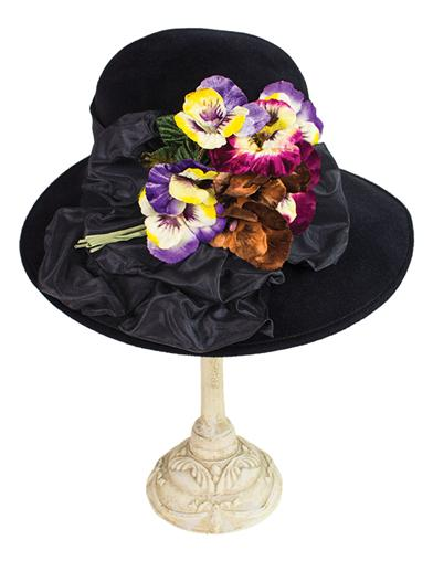 Edwardian Style Hats, Titanic Hats, Derby Hats Louise Green Pansy Nosegay Hat $379.95 AT vintagedancer.com