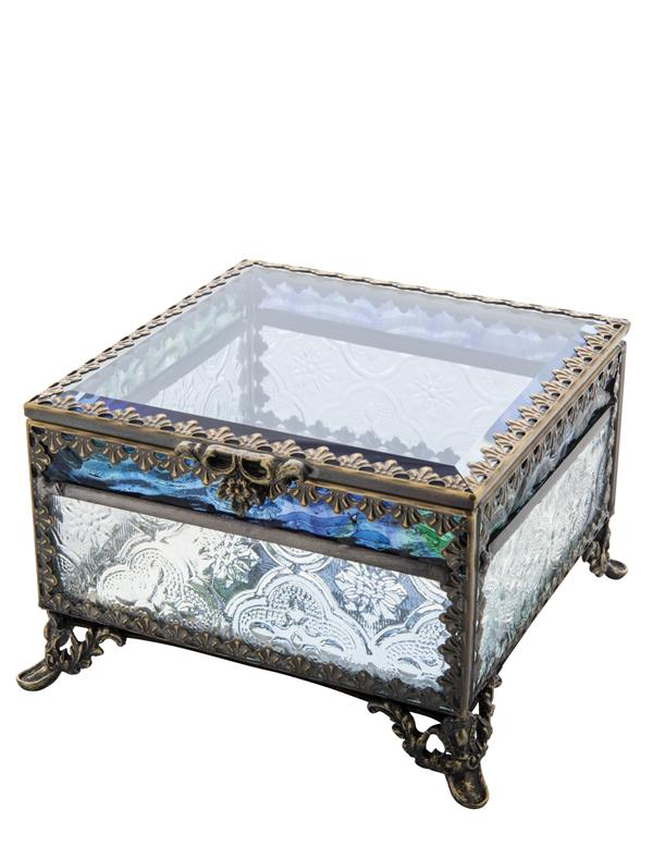 Blue Skies Footed Jewelry Box Blue Glass Jewelry Box Patterned
