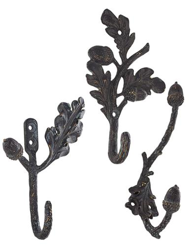 Acorn And Oak Leaf Wall Hooks