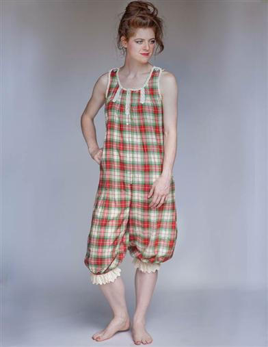 Vintage Inspired Nightgowns, Robes, Pajamas, Baby Dolls April Cornell Lassie Plaid Onesie $79.00 AT vintagedancer.com