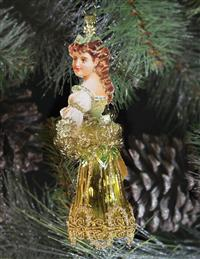 Bavarian Princess Ornament (Green & Gold)