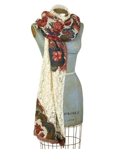 Shawls & Wraps | Fur Stole, Lace, Fringe Loomed Roses And Lace Artisan Wrap $39.99 AT vintagedancer.com