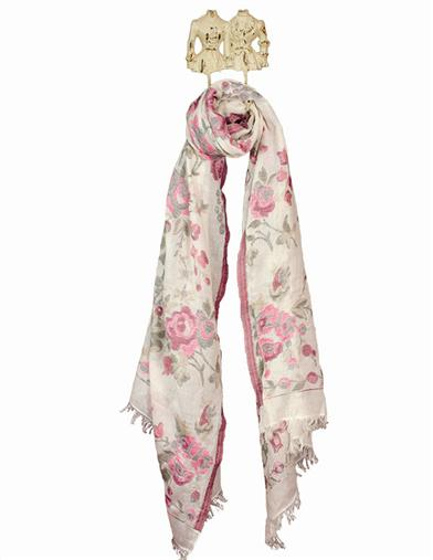 Vintage Scarves- New in the 1920s to 1960s Styles Ivory Rose Scarf $49.95 AT vintagedancer.com