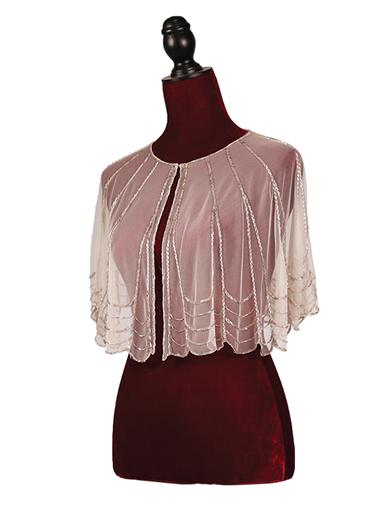 1920s Style Wraps Pink Champagne Cape With Sequins $59.95 AT vintagedancer.com