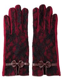Bordeaux Lace Touchscreen Gloves