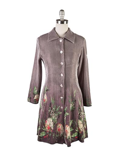Victorian Style Blouses, Tops, Jackets Silver Hydrangea Coat Dress $99.95 AT vintagedancer.com
