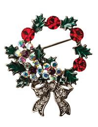 Holly And Ivy Wreath Brooch