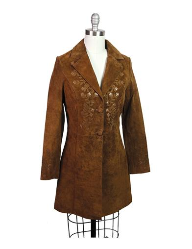 Victorian Style Blouses, Tops, Jackets Virginia Suede Coat $199.99 AT vintagedancer.com
