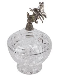 Resting Butterfly Lidded Glass Dish