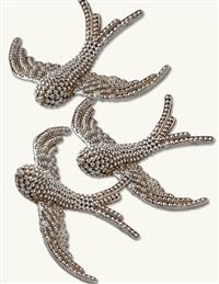 Pearly Swallow Clip Ornaments (Set Of 3)