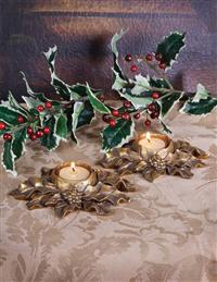 Poinsettia Tealight Holders (Set Of 2)