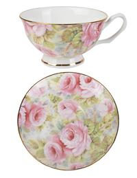 Dove Teacup & Saucer (Pink Rose)