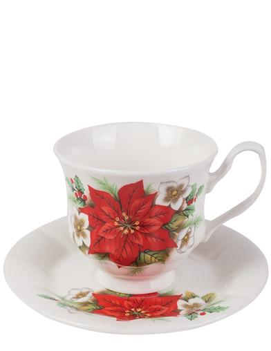 Poinsettia Bone China Cup & Saucer