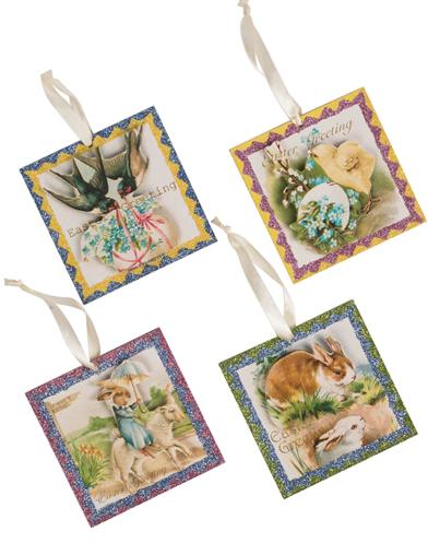 Easter Greetings Postcard Ornaments (Set Of 4)