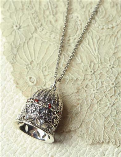 Victorian Costume Jewelry to Wear with Your Dress Sterling Silver Bell Necklace $79.99 AT vintagedancer.com