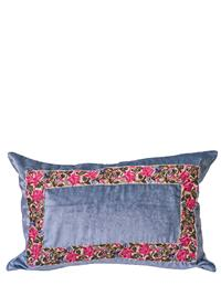 April Showers Blue Velvet Cushion