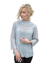Sophia's High Collar Lace Blouse