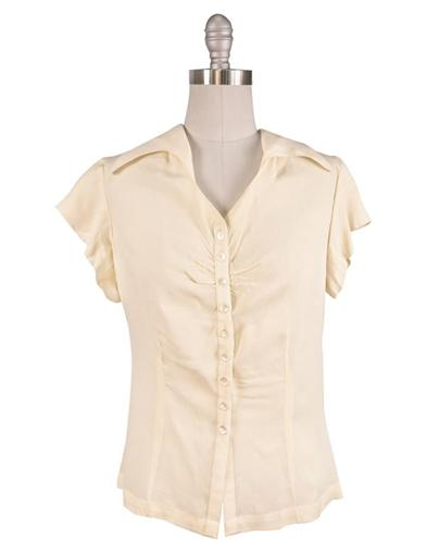 1930s Style Tops, Blouses & Sweaters April Cornell Swallowtail Collar Blouse $79.95 AT vintagedancer.com
