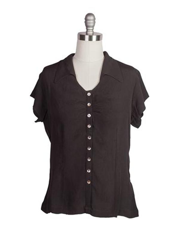 Vintage & Retro Shirts, Halter Tops, Blouses April Cornell Swallowtail Collar Blouse $79.95 AT vintagedancer.com