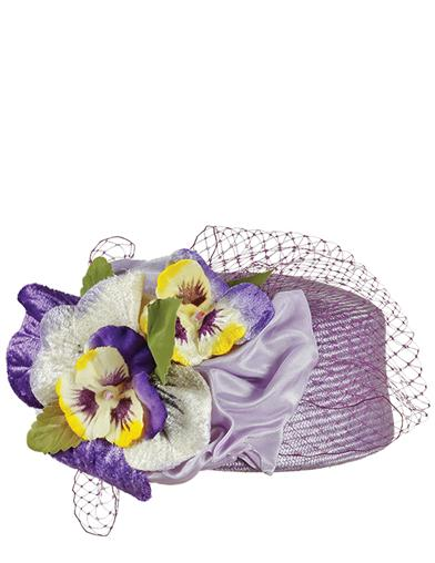 1950s Style Hats for Sale Louise Green Pansy Pillbox Hat $329.95 AT vintagedancer.com