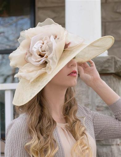Edwardian Style Hats, Titanic Hats, Derby Hats Louise Green Crowning Bloom Millinery $429.95 AT vintagedancer.com